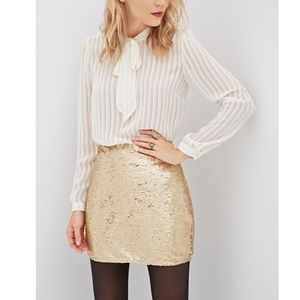 Forever 21 Gold Sequin Mini Skirt